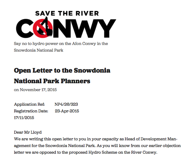 Open Letter to the Snowdonia National Park Planners